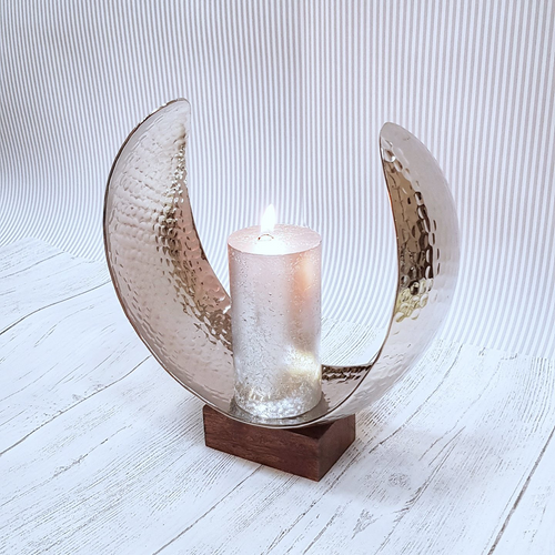 Wood and Hammered Silver Curved Candle Holder