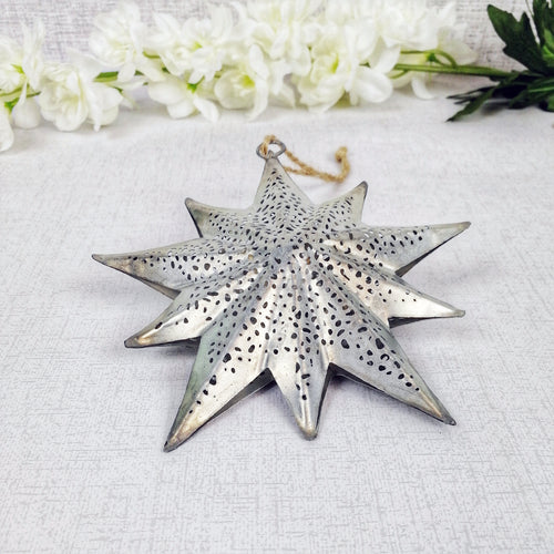 Decorative Detailed Metal Hanging Christmas Star 12cm x 24cm - Grey with flowers in background
