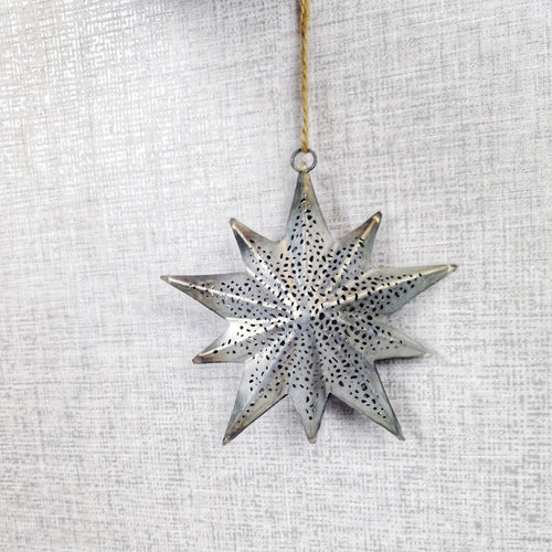 Decorative Detailed Metal Hanging Christmas Star 12cm x 24cm - Grey
