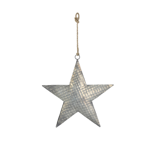Decorative Industrial Metal Hanging Christmas Star - 16cm x 17cm