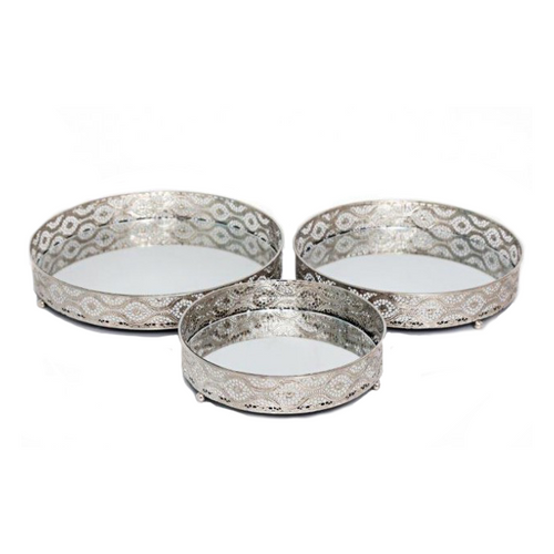 Decorative Silver Style Mirror Trays - Set of 3