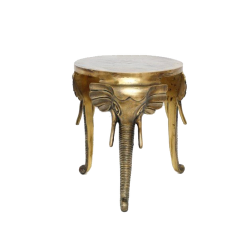 Elephant Antique Style Silver or Gold Side Table