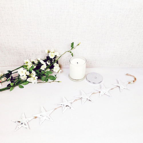 Decorative white hanging stars