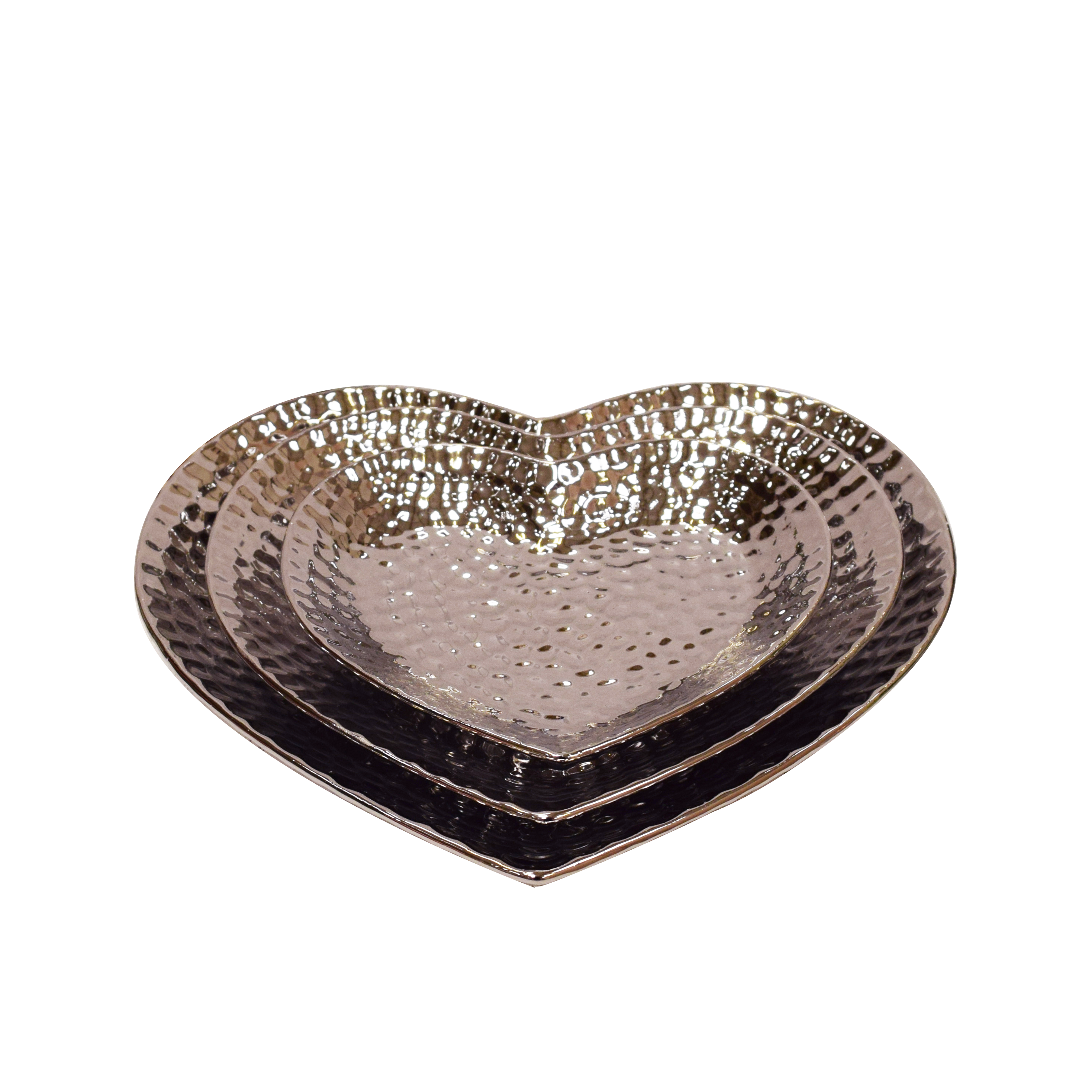 Heart Shaped Silver Effect Dimple Bowl Set of 3