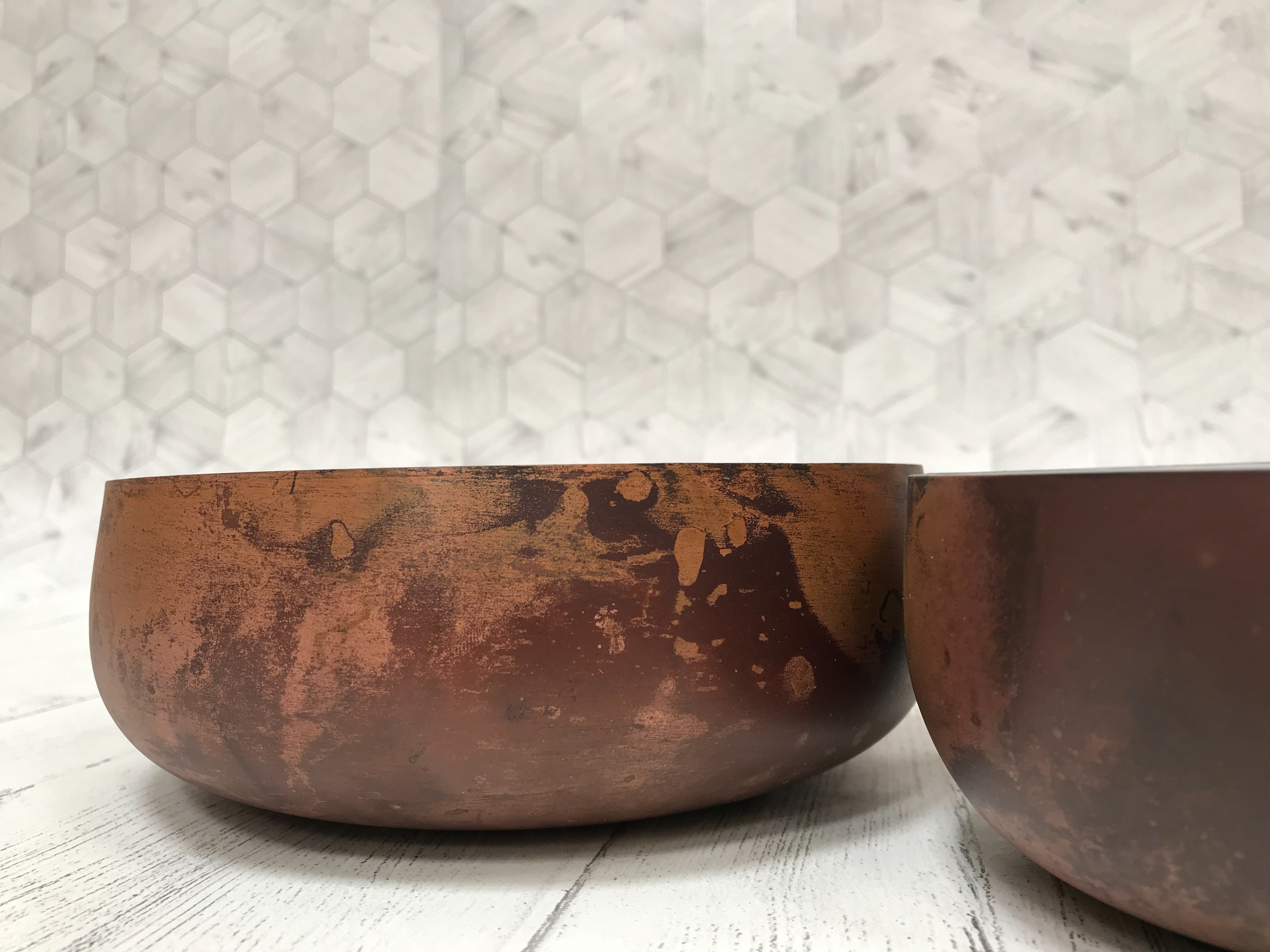 Set of 2 Weathered Copper Dishes