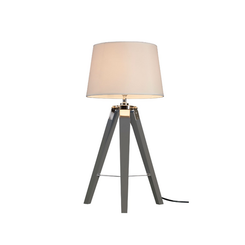 Lamp Tripod Table Light Contemporary Wood Base Grey/Brown