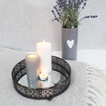 Revelare Dark Metal Round Mirror Display Trays