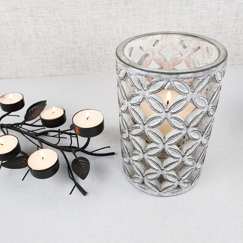 Geometric Stone Candle Holder