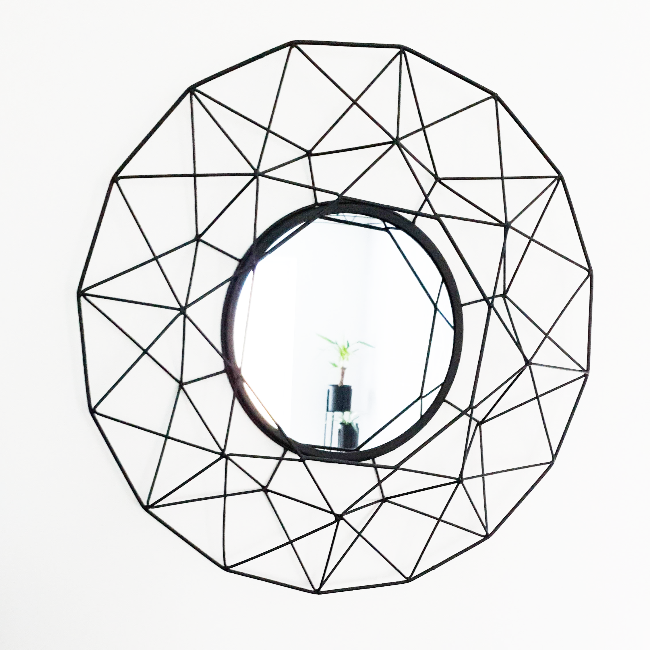 Large Black Geometric Wall Mirror