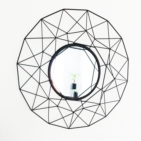 Black Geometric Metal Tea Light Holder