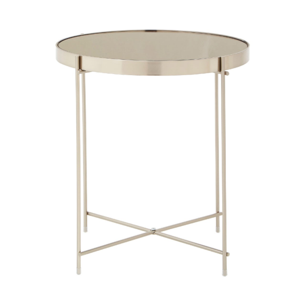 Large Round Mirrored Side Table Brushed Nickel