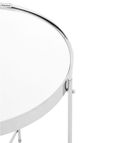 Large Round Mirrored Side Table Chrome