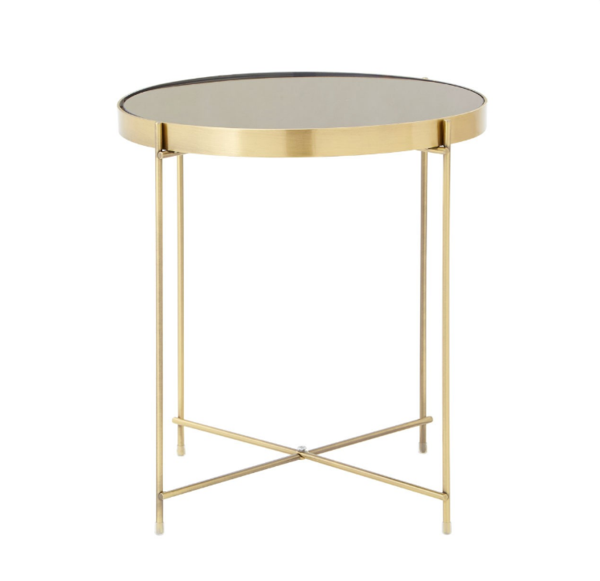 Large Round Mirrored Side Table Gold
