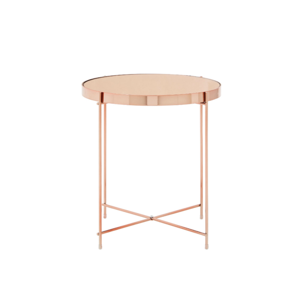 Large Round Mirrored Side Table Rose Gold
