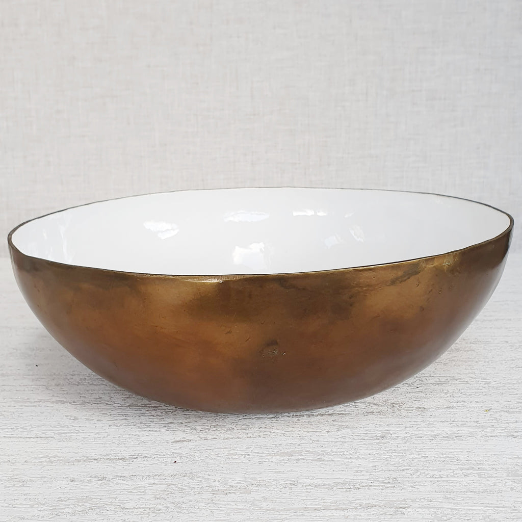 Large Weathered Gold & Copper Fruit Bowl
