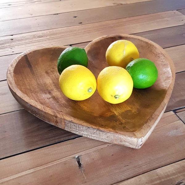 Mango Wood Heart Fruit Bowl Side