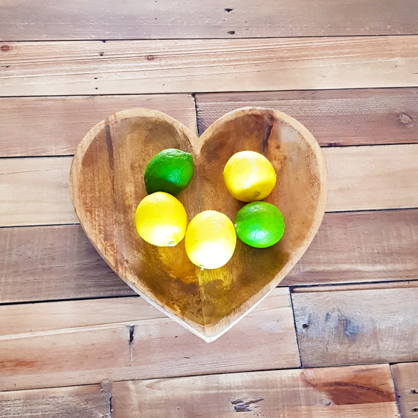 Mango Wood Heart Fruit Bowl from Above