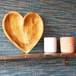 Mango Wood Heart Fruit Bowl on Shelf