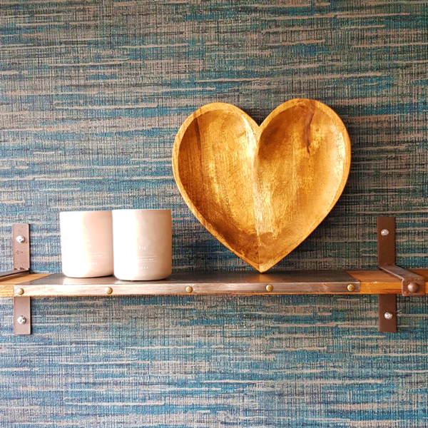 Mango Wood Heart Fruit Bowl on Shelf Standing