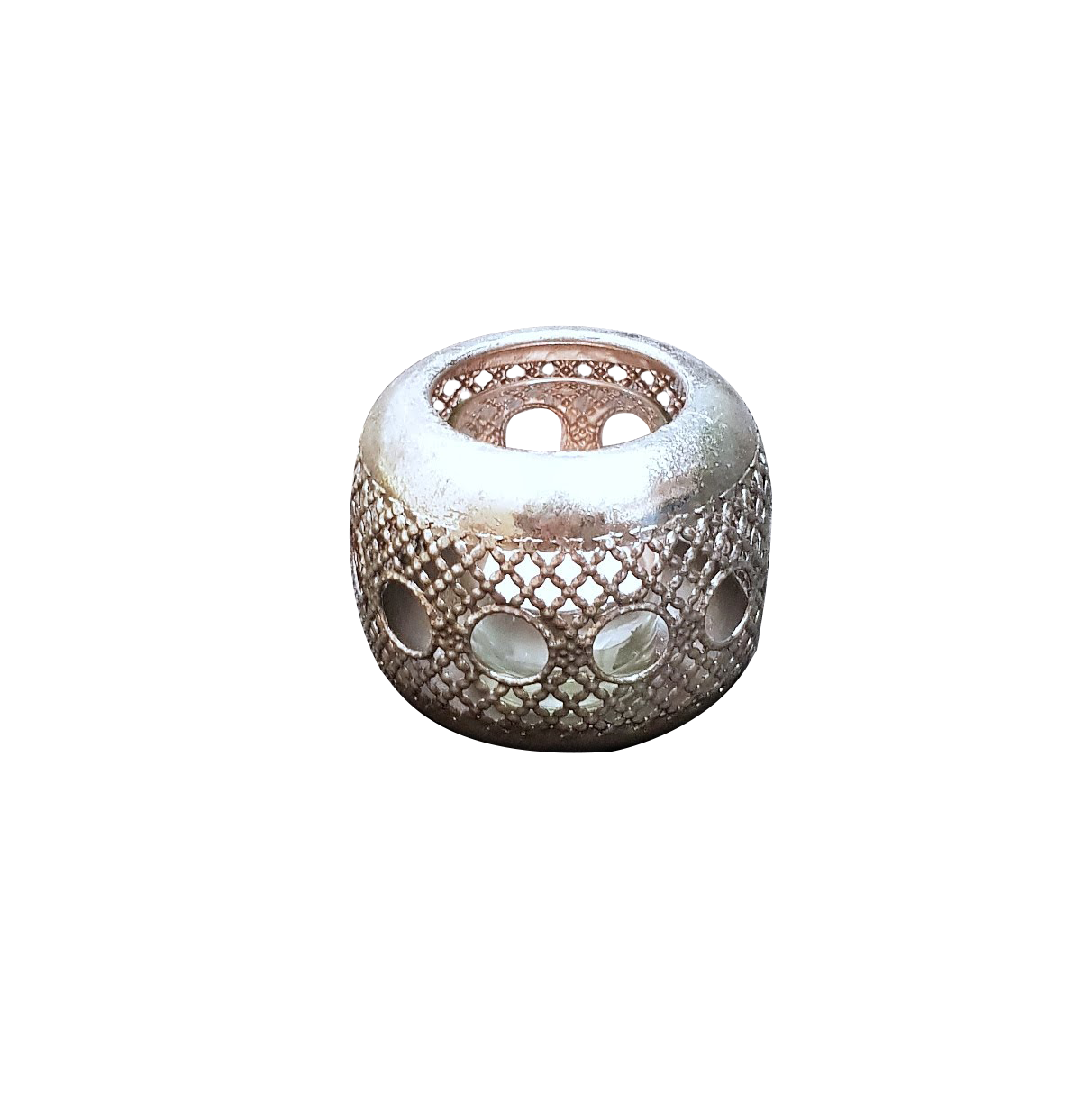 Marrakech Silver Style Round Tea Light Lantern