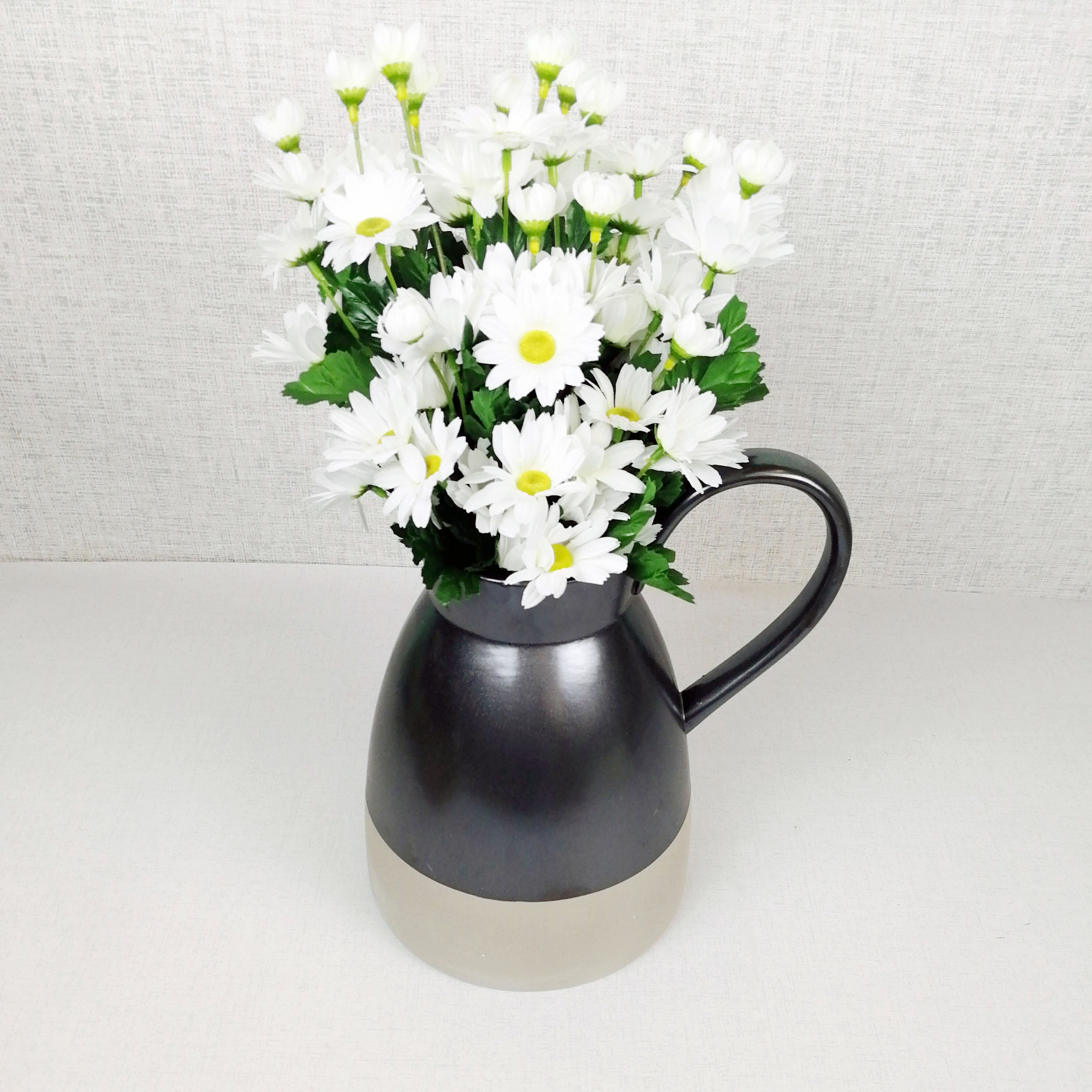 Metallic Style Ceramic Jug with white flowers