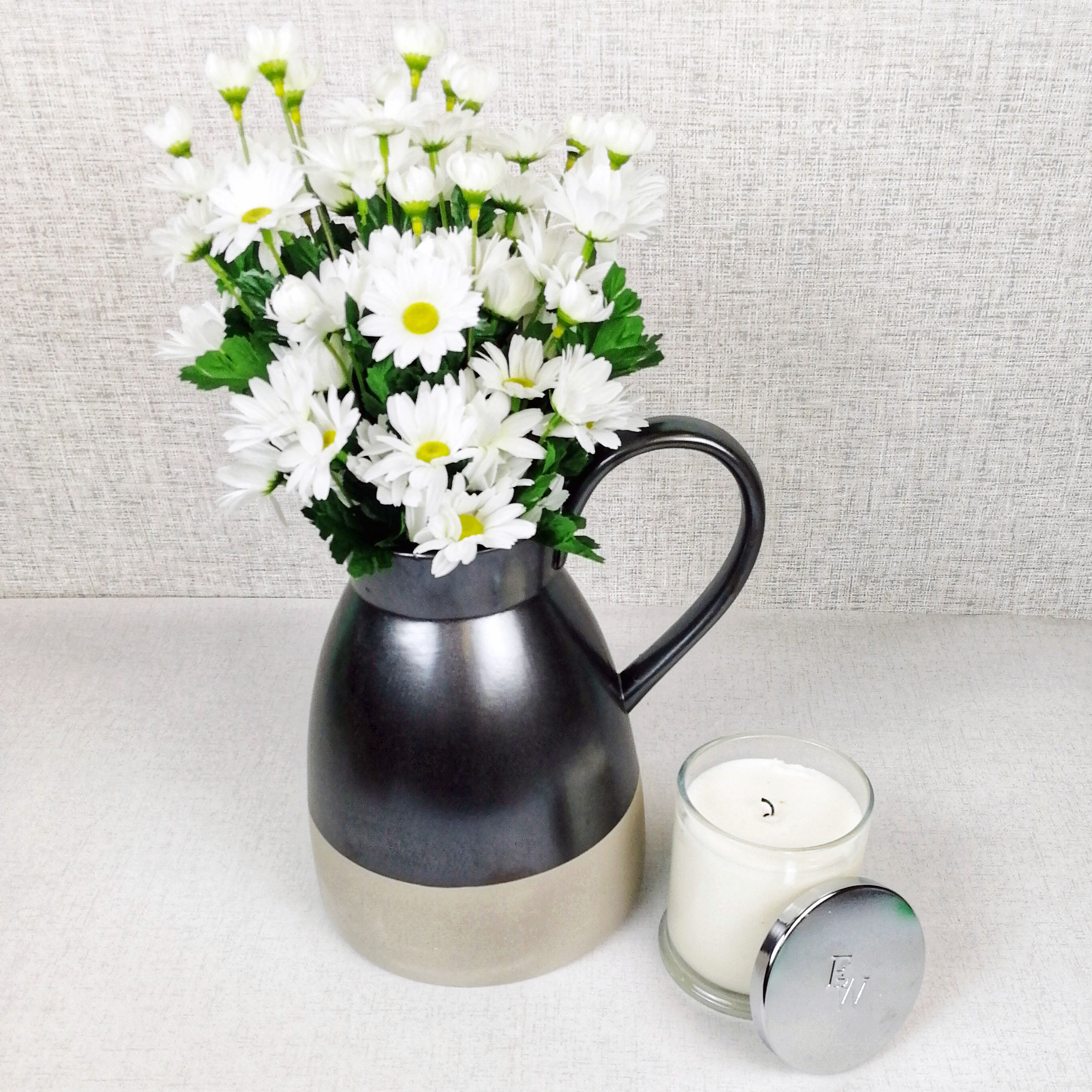 Metallic Style Ceramic Jug with candle and flowers