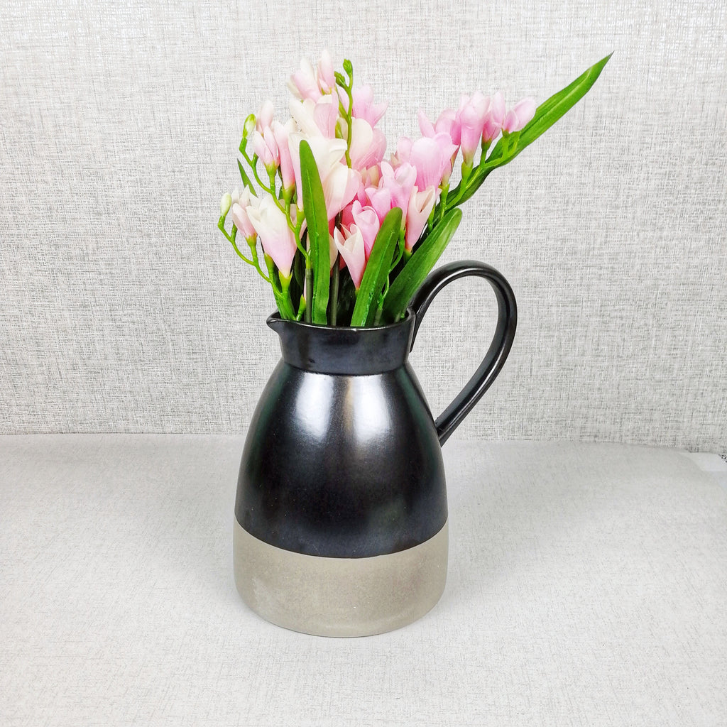 Metallic Style Ceramic Jug with pink flowers