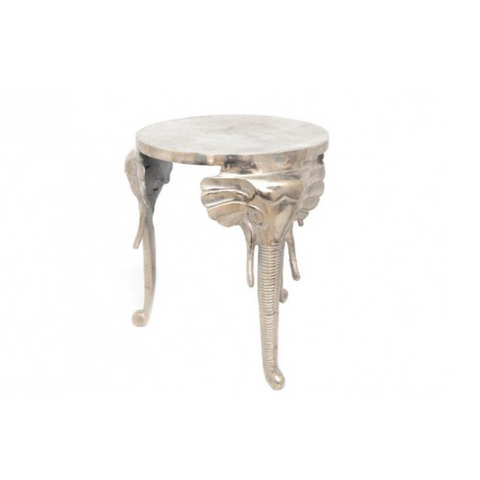 Round White Geometric Wire Metal Tray Table