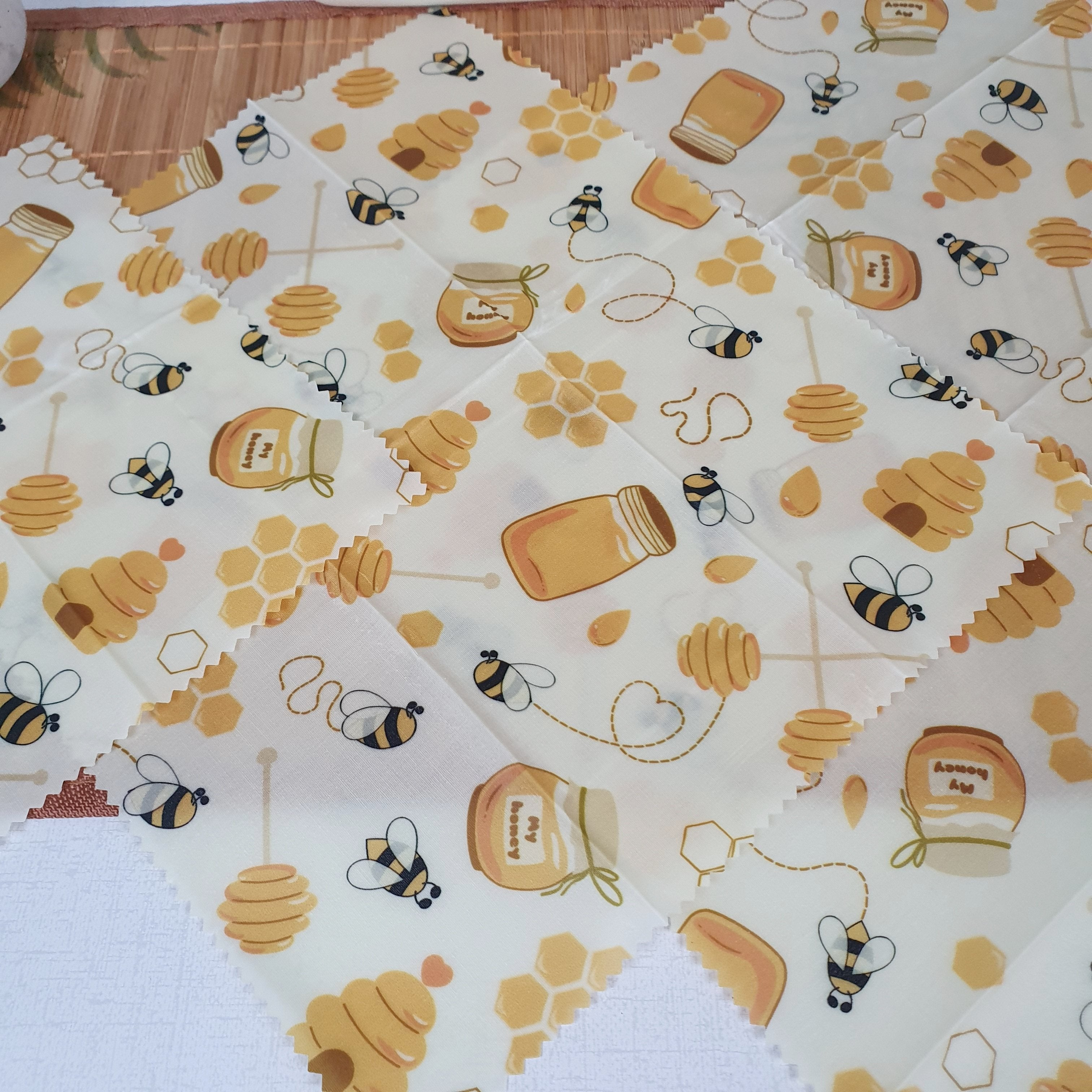 Natural Beeswax Sandwich Wrap Set Close UNfolded