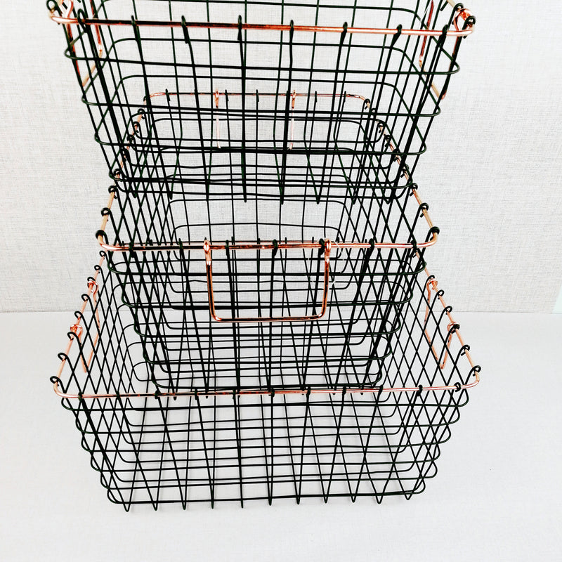Black & Copper Style Rectangular Baskets