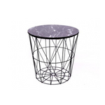 Round Modern Black Metal & Marble Effect Side Table