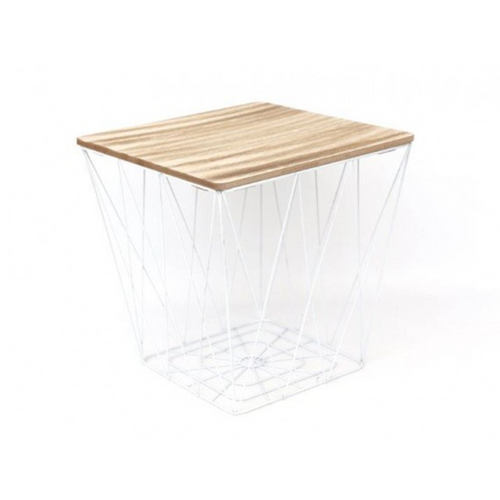 Square Modern White Metal & Wooden Effect Table