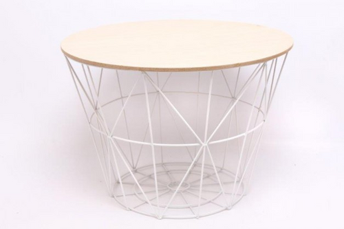 Large Round Modern White Metal & Wooden Effect Side Table