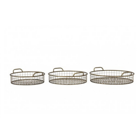 Set Of 3 Straw Grass Square Baskets With Handles