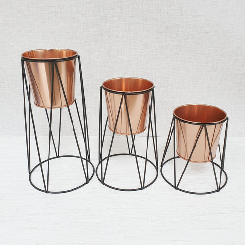 Set of 3 Copper Planters