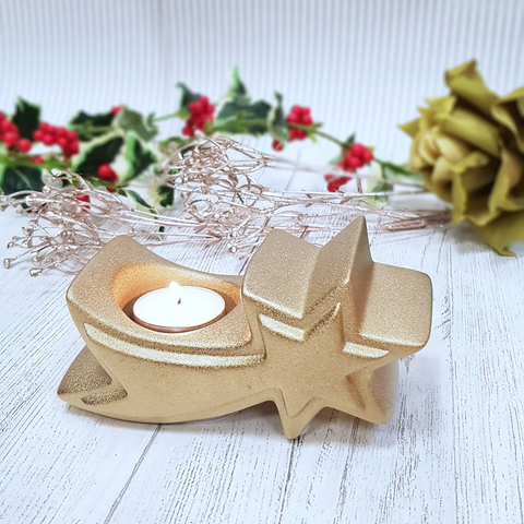 Gold Christmas Tree Tea Light Candle Holder
