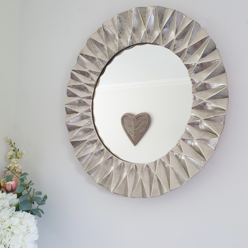Silver Geometric Wall Mirror