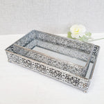 Planus Silver Style Rectangular Mirror Display Trays