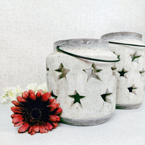Stoneware Style Star Candle Lantern Set with Red Flower