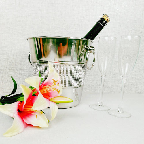 Studded Silver Style Champagne Bucket with Flrwers and Flutes