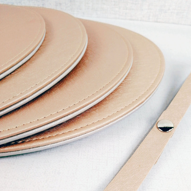 Reversible Placemat and Coaster Set Rose Gold Side