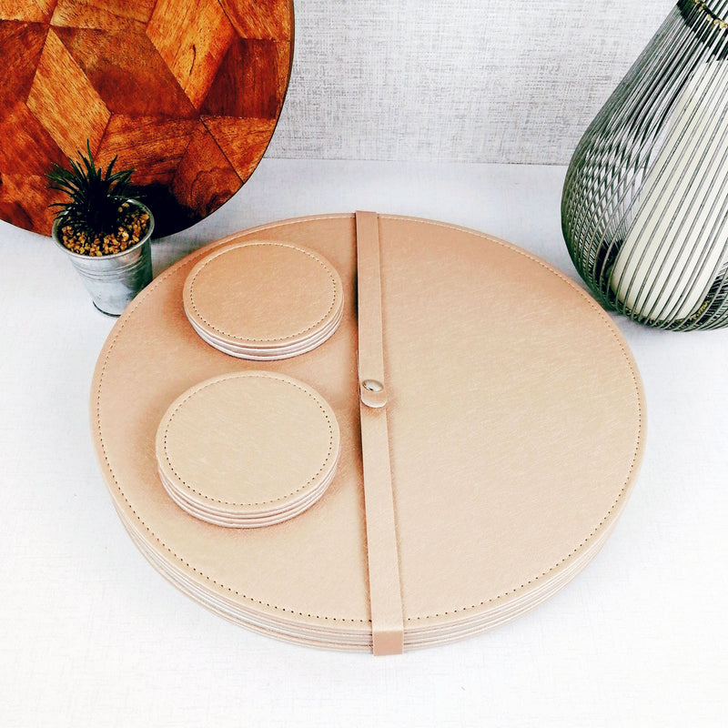 Reversible Placemat and Coaster Set Gold Size withcandle