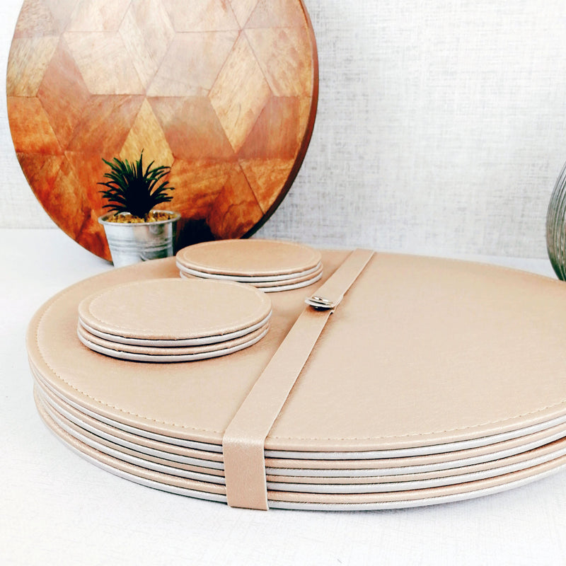 Reversible Placemat and Coaster Set with plant and cutting board