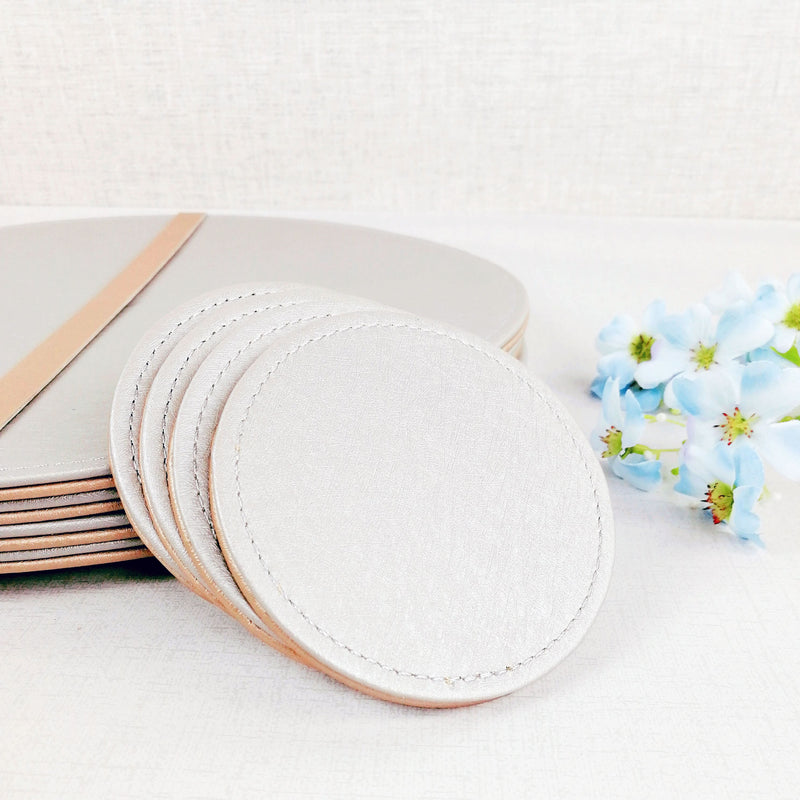 Reversible Placemat and Coaster Set Silver Side
