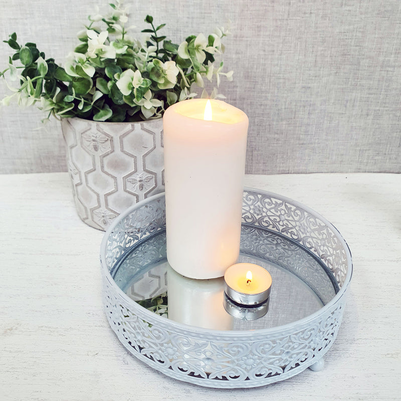 White Style Round Mirror Display Tray Small with Candles and Flowers