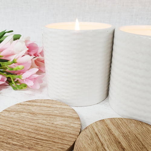 White Patterned Eucalyptus Candle with Lid