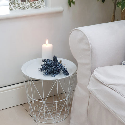 Round Modern White Metal & Marble Effect Side Table