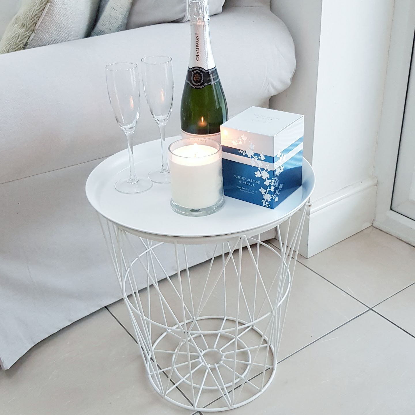 Geometric Metal Tray Side Table - 44cm x 40cm