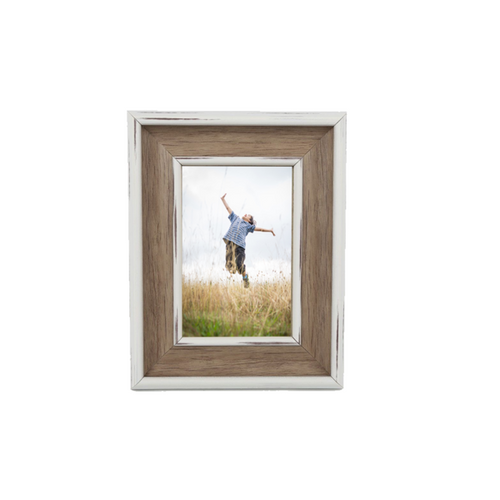 "White Wood Rustic Photo Frame 4""x6"""