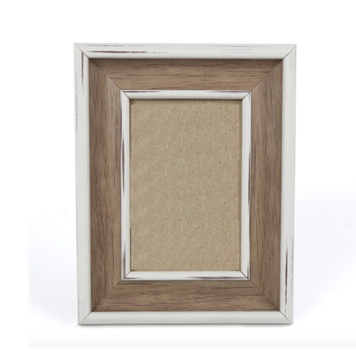 "White Wood Rustic Photo Frame 4""x6"" Empty"